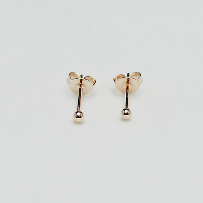 14K/14ct Rose Gold Plated Smooth Ball Stud Earrings Butterfly Backs