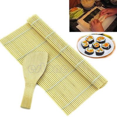 Sushi Rolling Maker Bamboo Material Roller DIY Mat + A Rice Paddle New