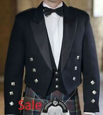 3-Piece Men New Scottish Prince Charlie Kilt Jacket & Waistcoat 100%Wool Size 42