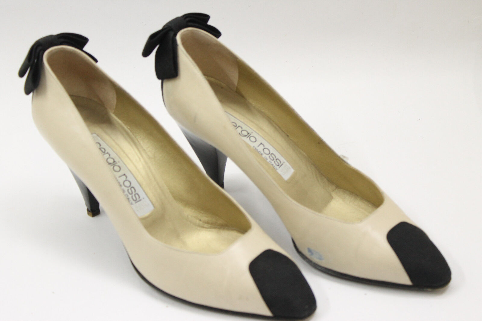 vendite online SERGIO ROSSI donna scarpe scarpe scarpe sz 7.5 Europe 38 beige leather nero canvas S7107  qualità garantita