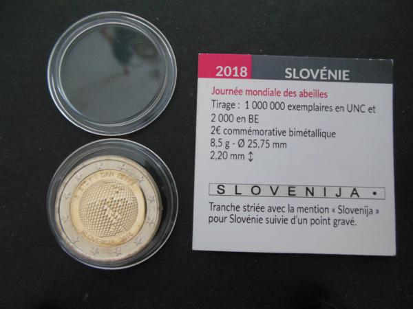 Intelligent Pièce 2 Euros Commémorative Slovenie 2018 - Journée Mondiale Des Abeilles - Unc 100% D'Origine