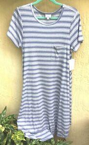 lularoe carly dress nwt lg slate blue  white ribbed