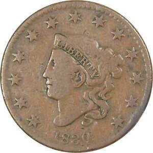 1830-Coronet-Head-Large-Cent-VG-Very-Good-Copper-Penny-1c-US-Type-Coin