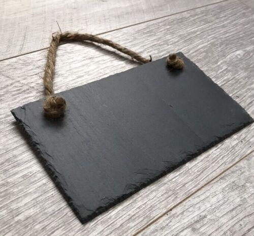 Handmade Slate Hanging Chalkboard Blackboard Message Board Memo Plaque 18x10cm