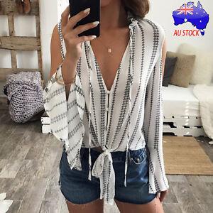 Fashion-Women-Long-Sleeve-Striped-Tops-Chiffon-Off-Shoulder-Loose-Blouse-Shirts