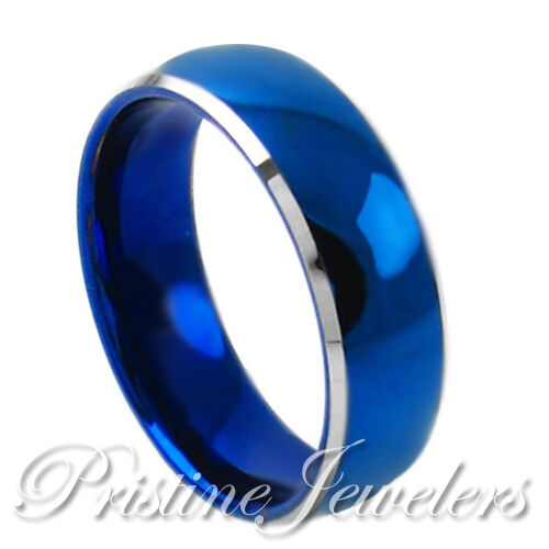 Tungsten Carbide Ring Blue Domed Silver Beveled Comfort Fit Band Men's Jewelry