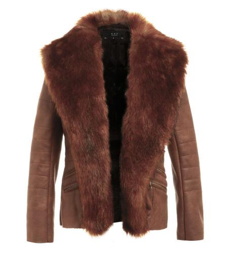 NEW Faux Fur BIKER JACKET Womens FAUX LEATHER Coat Ladies Size 8 10 12 14 16