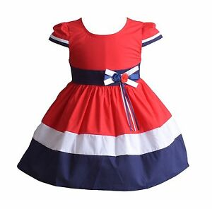New Baby Girls Red White And Blue Cotton Summer Party Dress 3 6