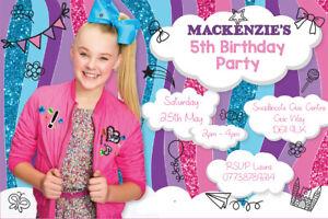 Personalised Siwa Jojo Bows Girls Birthday Party Invites With