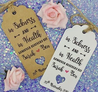 Bottle Guest Label Wedding ALCOHOL Favour HANGOVER KIT Gift Tags