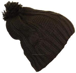 Best-Winter-Hats-Women-039-s-Cable-Knit-Cuffless-Cap-W-3-1-2-034-Pom-Pom-865-Brown