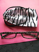 Designer Style Slim Mocha Swirl Reading Glasses W/free Zebra Print Bag-+1.25