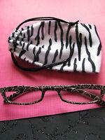 Designer Style Slim Mocha Swirl Reading Glasses W/free Zebra Print Bag-+1.25