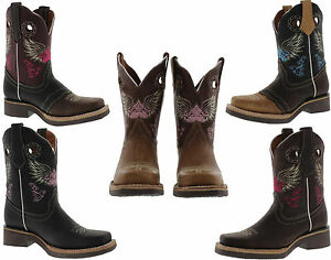 Womens ladies leather new roper square toe cowboy boots rodeo ...
