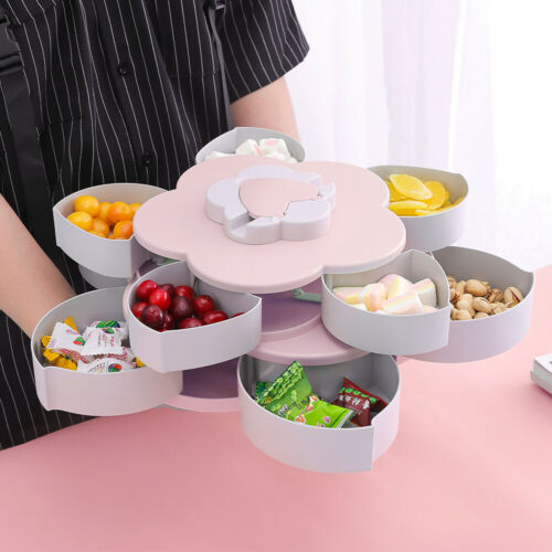 Bloom Rotating Snack Box Flower Design Candy Food Storage Box Jewelry Organizer