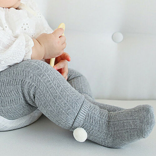 Cotton Baby Socks Anti Slip Knit Knee High Foot Warmer Pompom Ball Socks
