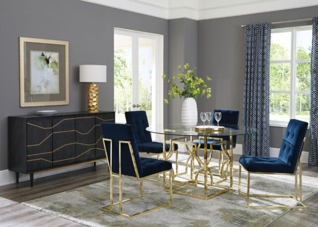 ROUND GLASS GOLD METAL TABLE BLUE VELVET CHAIRS DINING ROOM FURNITURE SET
