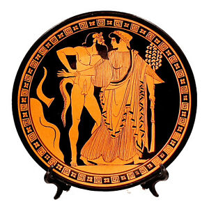 Greek-Plate-24cm-Red-Figure-Pottery-showing-Satyr-amp-Maenad
