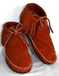 Braun Suede Soft Moccasin men low Indian boot fringe Western Indian low Pawnee 5a21aa