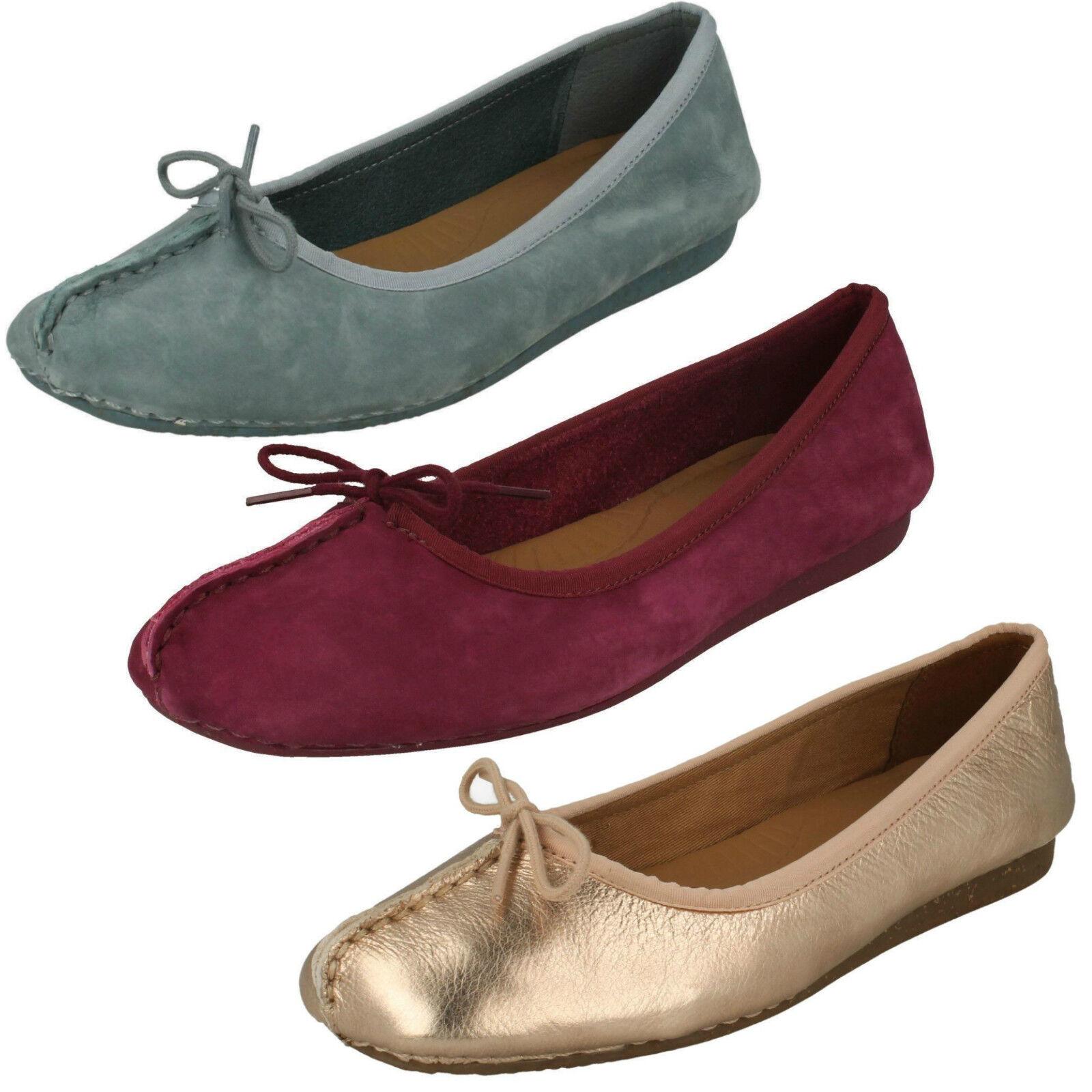 Mujer Clarks Freckle Ice Ice Ice Cuero Zapatos Planos Bailarinas Ancho D  100% precio garantizado