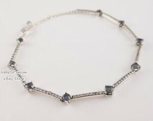 BLUE SPARKLING PAVE BARS Authentic PANDORA Bracelet 599217C01 7.1 ...