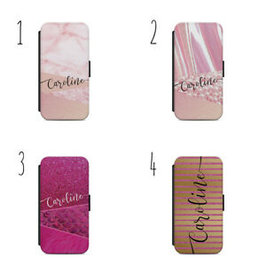 super popular 92ac2 84409 Details about PERSONALISED INITIALS FLIP WALLET CASE PINK MARBLE COVER  SAMSUNG S7/S8/S9 + A72