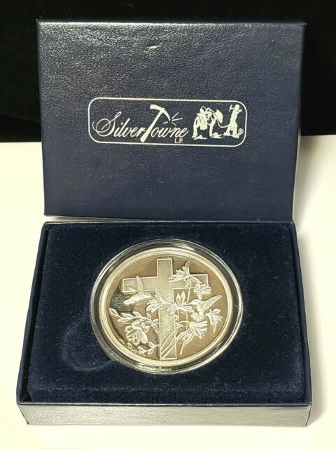 One Troy Ounce Silver Coin With cross and hummingbird Design Personalized