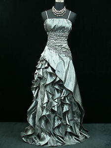 Cherlone Grey Ballgown Bridesmaid Formal Wedding/Evening Full Length Dress 14