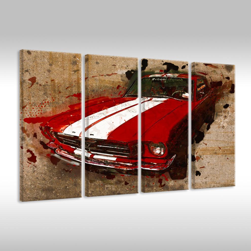 Quadro su Tel Tel Tel Tela Poster Fotografia Arte Auto Antica Ford Mustang Auto Sportiva 2d92c7
