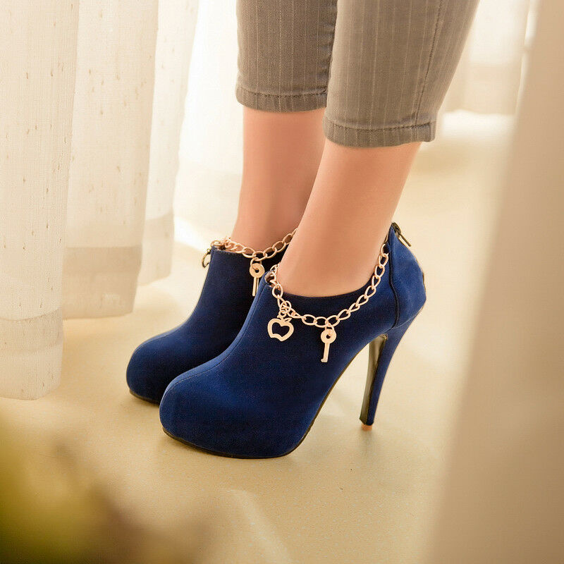 Women Platform Round Toe Stilettos Ankle Boots Casual Suede High heels shoes Pump