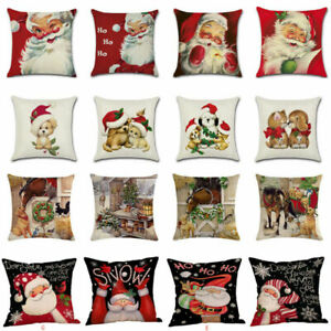 18-034-Xmas-Christmas-Cushion-Cover-Santa-Linen-Pillow-Case-Merry-Claus-Home-Decor