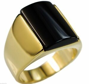 Onyx Noir 12mm X 17mm Lisse Bombée Homme Bague 18k or Revêtement Taille 9 ueg6dHsn-09153611-411517904
