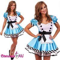 Girls Alice in Wonderland Costume Ladies Fancy Dress Halloween Hens Party