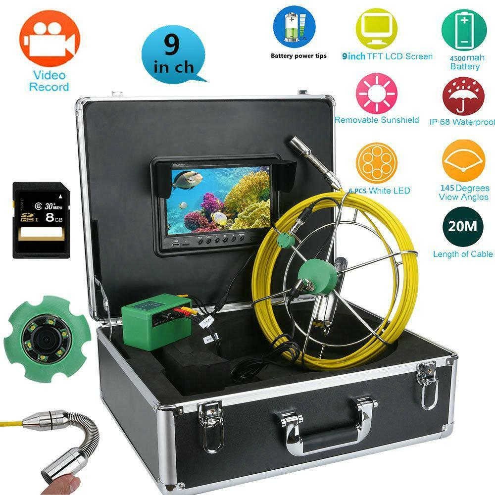 9 LCD Pipe Inspection HD Video Camera 6W LED IP68 Drain Pipe Sewer 8GB TF Card