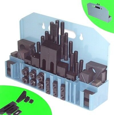 Spannpratzen T14 // 14mm Spannwerkzeugsortiment 58-teilig mit Kassette T-Nutensteine 55545 Bohrtisch Nutensteine Spanneisen Spannwerkzeug f/ür Fr/ästisch Kreuztisch AWZ
