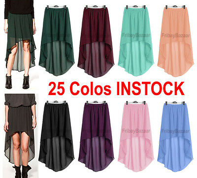 Women Lady Chiffon Hot Sexy Asym Skirts Waist Maxi High Low Hem S~3XL| 25 Colors