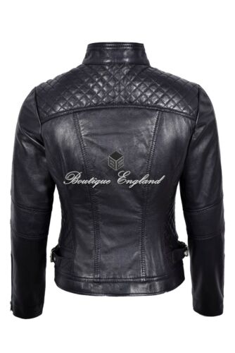 Ladies Real Leather Biker Jacket Black FASHION STYLISH GIRLS JACKET 8-20 3061