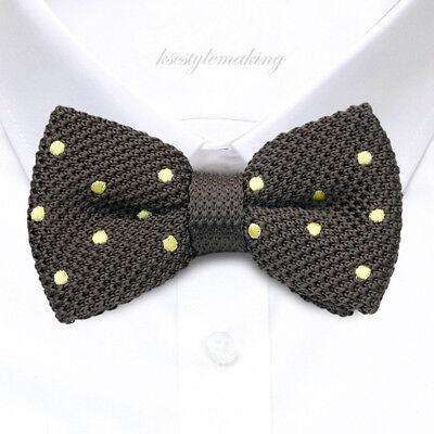 Brand new Brown N White Polka Dot SATIN Fashion Tuxedo Bow tie For Men B1281