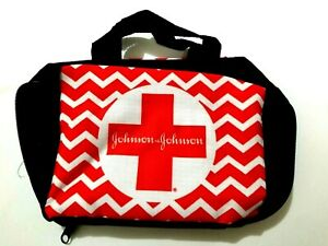 FIRST AID KIT POUCH BAG EMPTY W/ ZIPPER RED WHITE JOHNSON & JOHNSON (EMERGENCY)