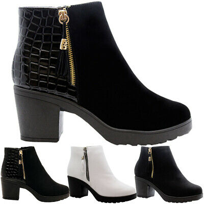 LADIES WOMENS CHELSEA CROCK PATENT ZIP UP BLOCK HEEL ANKLE BOOTS SHOES NEW SIZES