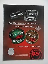 2003 Print Ad Red Seal Smokeless Snuff Tobacco ~ Real Value