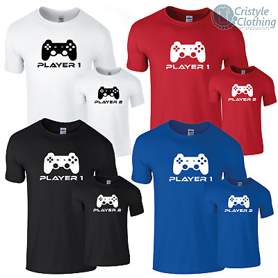 Father and Son Gaming T-Shirt Funny Retro Player 1 and 2 Paired T-Shirts