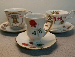 Vintage-Viletta-USA-Bicentennial-Royal-Albert-Canada-Rose-Cups-And-Saucers