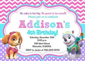 Image Is Loading Paw Patrol Skye Everest Girl Birthday Party Invitation