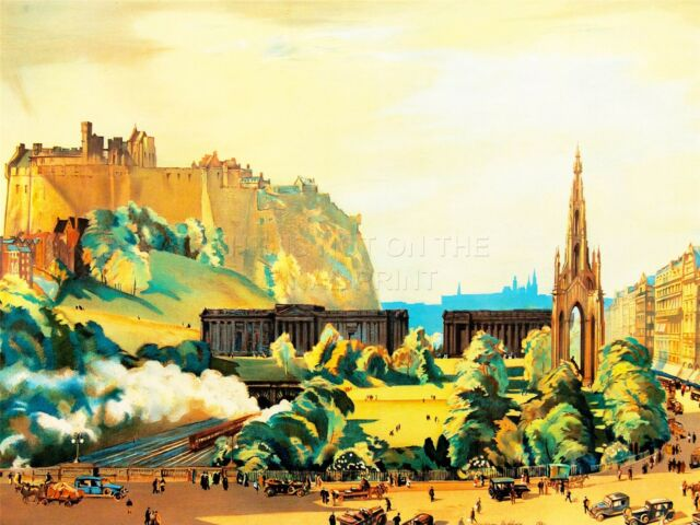 ART PRINT PAINTING CITYSCAPE EDINBURGH CASTLE SCOTT MONUMENT GALLERY NOFL0744