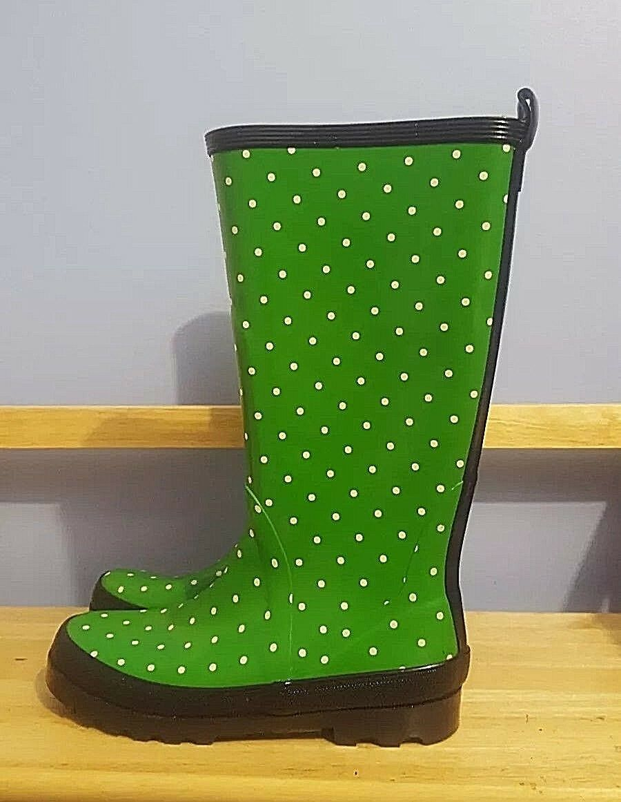 J Crew Women Size 7L & 8R Rain Boots Rubber Wellies Green & White Polka Dot