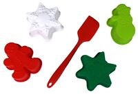 Holidays Silicone Baking Set 5 Pieces Snowflakes Snowman Gingerbread Man