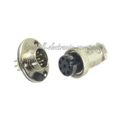 M16 16mm 8 Pin Screw Type Electrical Plug Socket Flange Waterproof Connector New
