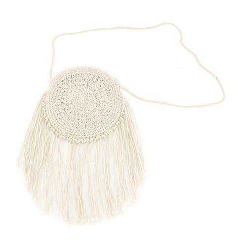 Women Vintage Boho Tote Bag Tassel Straw Woven Shoulder Handbag Crossbody Purse