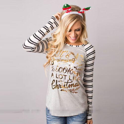 Womens Christmas Reindeer Tops Long Sleeve Pullover Casual Loose Blouse T-shirt